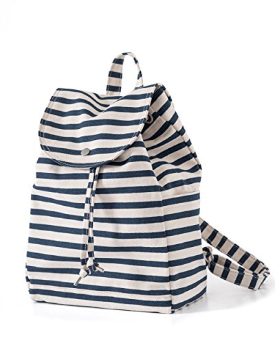 (BAGGU Canvas Backpack, Durable and Stylish Simple Canvas Satchel for Daily Essentials, Sailor Stripe)