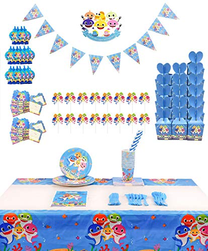 Shark Party Supplies for Baby -Flatware, Spoons, Plates, Cups, Straws, Table Covers, Napkins Blowouts, Invitations, Candy Boxes, Cake Toppers, Pennant, Tablecloth Birthday Party Favor Pack Set for Kids Boy]()