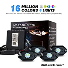 WEISIJI RGB LED Rock Light Kits with Bluetooth Control & Cell Phone Control & Timing & Music Mode & Flashing & Automatic Control & Color Grad Multicolor Neon Underglow Led Light Kit for Off Road Truck SUV ATV (4 Pods)