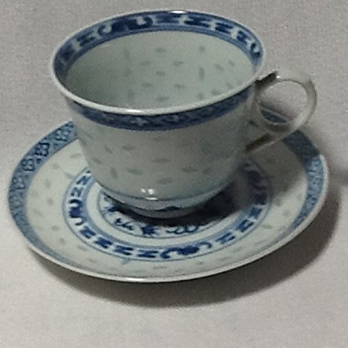 (Vintage Rice Grain Blue Dragon Tea Cup and Saucer)