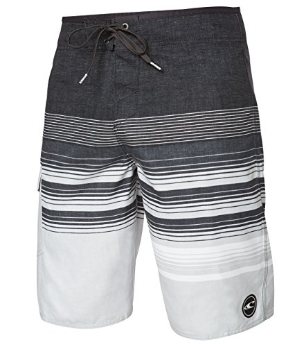 O'Neill Men's Catalina Stripe Boardshorts, Asphalt Grey, Size 42