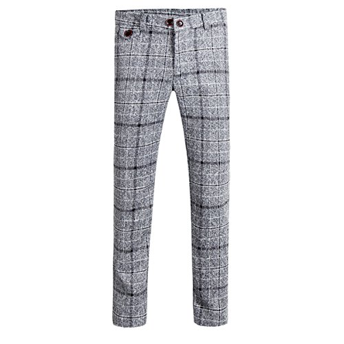 Mens Pants Straight Fit Flat Front Plaid Stripe Comfort Suit Pant Dress Trousers