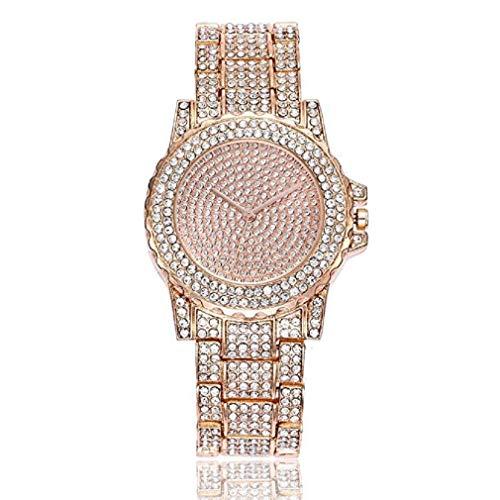 Reloj para Mujer, Scpink Reloj de Acero Inoxidable Clásico con Bling Diamantes Llenos de Lujo con Caja Redonda Simple Espejo de Cristal Reloj a Prueba de ...