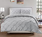 120 Inch King Comforter Luxury Pinch Pleated/Pintuck Egyptian Cotton 600 TC Decorative 3-Piece Duvet Cover Set Zipper Closer With Corner Ties, Oversized King (98 x 120 Inch) Size, Soft, Hypoallergenic, Silver Grey Solid