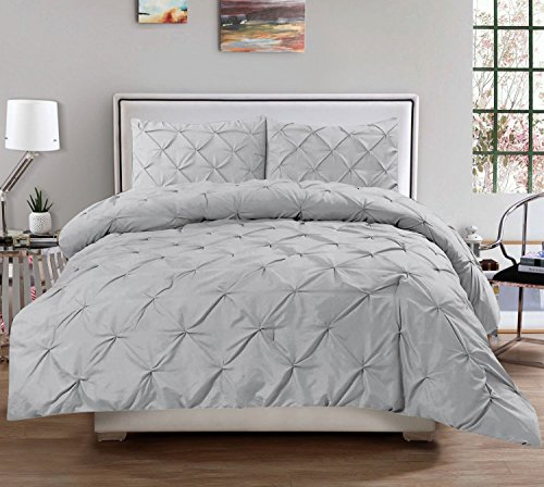 Luxury Pinch Pleated/Pintuck Egyptian Cotton 600 TC Decorative 3-Piece Duvet Cover Set Button Closer With Corner Ties, Oversized King (98 x 120 Inch) Size, Soft, Hypoallergenic, Silver Grey Solid