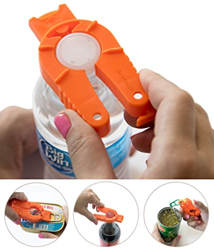 Brenium Multifunctional Bottle and Can Opener, Plastic Water Bottle, Twist-Off, Pull Tab Soup, for Weak Hands, Seniors, Elderly, Rheumatoid Arthritis, Bottle Gripper, Ergonomic Lid Seal Remover