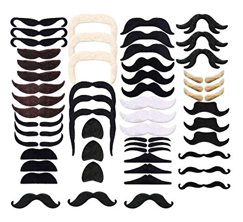 54Pack Novelty Self Adhesive Fake Mustaches Halloween Decorations Costume ()