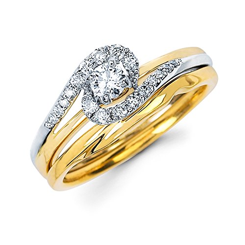 Pretty Jewellery 14k Two-tone Gold Over 925 Sterling Silver Diamond Engagement Wedding Bridal Rings Set (6)