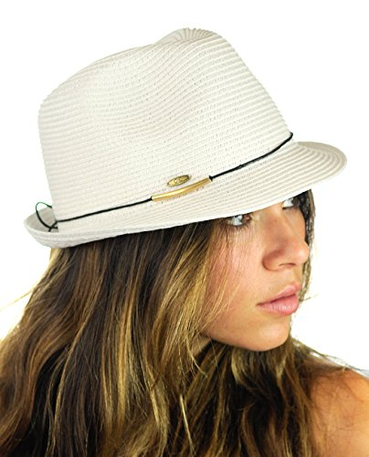 Stingy Brim Fedora Trilby (NYFASHION101 Spring Summer Gold-Tone Bar Slim Band Stingy Trilby Fedora Hat - White)