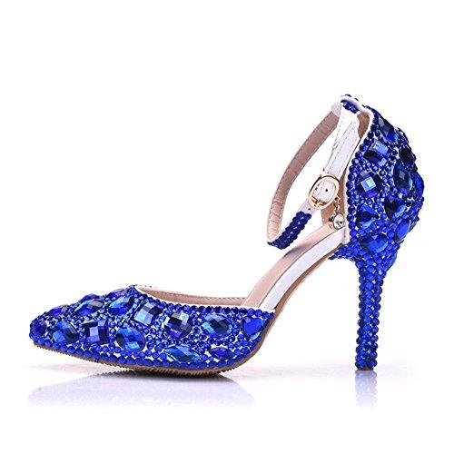 Braut Hoch Pumps Hochzeit Damen Gericht Schuhe Kleid Knöchel Blau Frau Spitze Hacke 41 Abend Größe Gurt Spitz NVXIE Frühling 35 Sandalen Strasssteine B45ppq