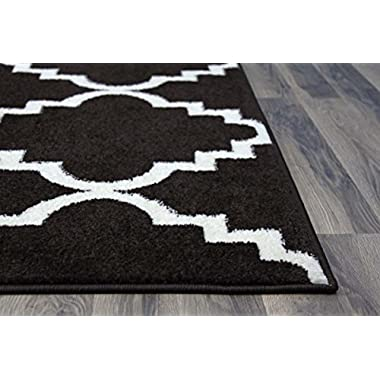 Black Trellis Rug Contemporary Design 5-Feet 3-Inch by 7-Feet 3 Soft Lattice Carpet