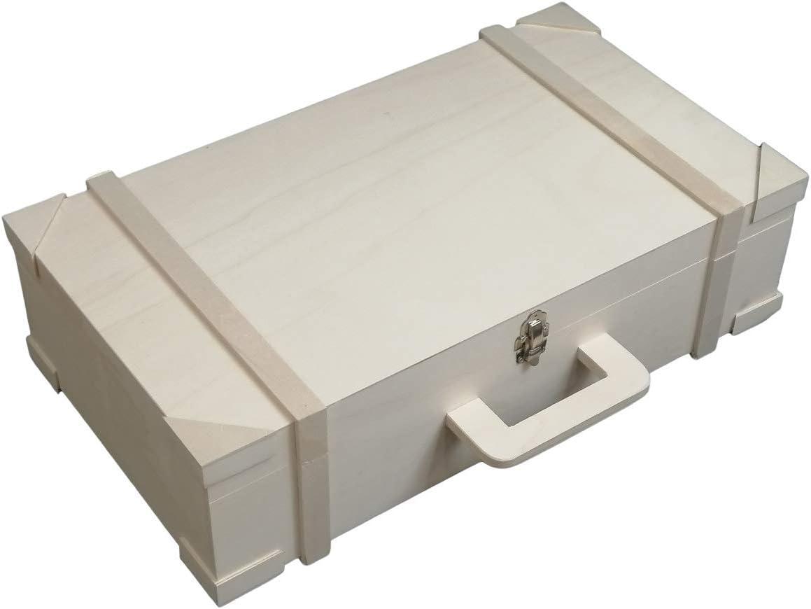 Maleta de madera rectangular Medida: 54 * 30 * 14 cms. En madera de chopo en crudo. Para pintar.