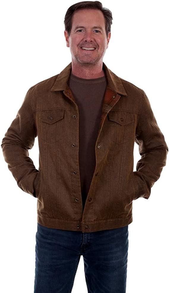 Men's Vintage Workwear Inspired Clothing Scully Mens Moleskin Jacket - Tr-092-Brn $139.85 AT vintagedancer.com