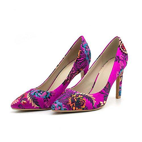 Zapatos de Tacón Alto para Mujeres Zapatos de Tacón Alto Bordados en la Boca Primavera y Verano Nuevo Tacón Alto Tamaño 35-40 (Color : Flowers, Tamaño : 39)