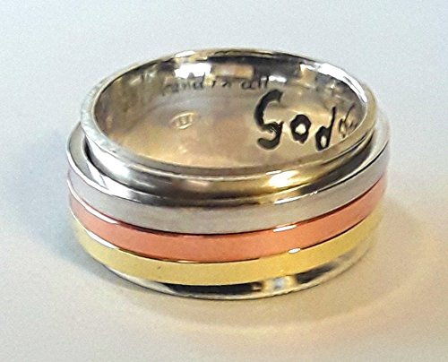 - Sterling 925 silver ring with 3 spinner rings of copper, silver and brass; anxiety ring with personalized text.