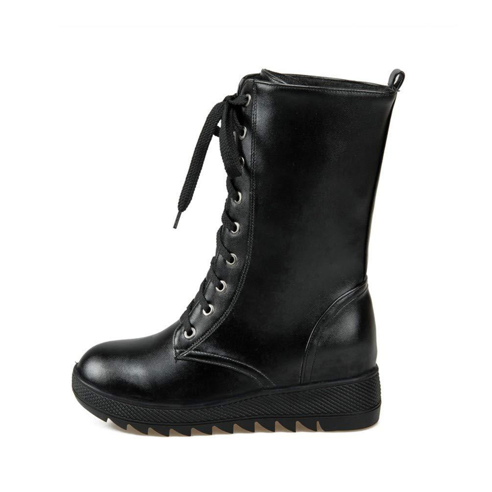 AIKAKA Frauen Herbst und Winter Winter Winter Europa und Amerika Sexy warme High Heel Schuhe Medium Stiefel Keil Martin Stiefel 6bb9b1