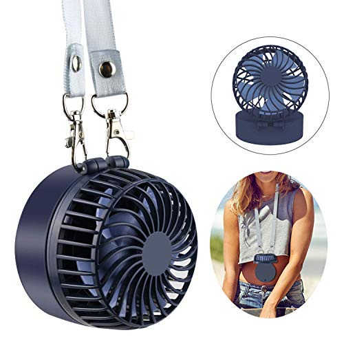 BestFire Handheld Necklace Fan, Mini Portable USB Fan Rechargeable Personal Fan 3 Speeds 180° Rotating Adjustment with Male Up Mirror for Camping,Traveling, Home, Office (Navy (Best Bestfire® Office Desks)
