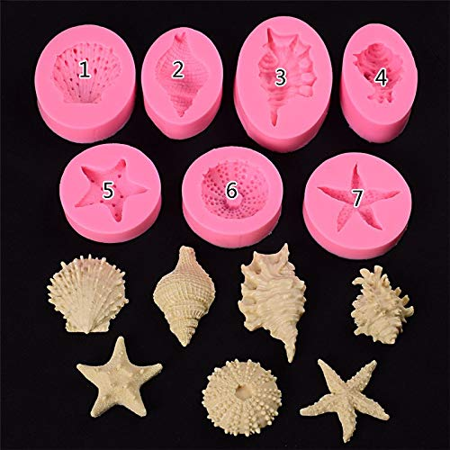 1 piece DIY Ocean Series Pearl Conch Starfish Shell Seashells Silicone Mold Ocean Biological Fondant Baking Molds cake decorating tools