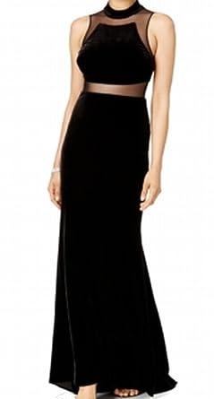 Betsy & Adam Women's Velvet Illusion Ball Gown ...