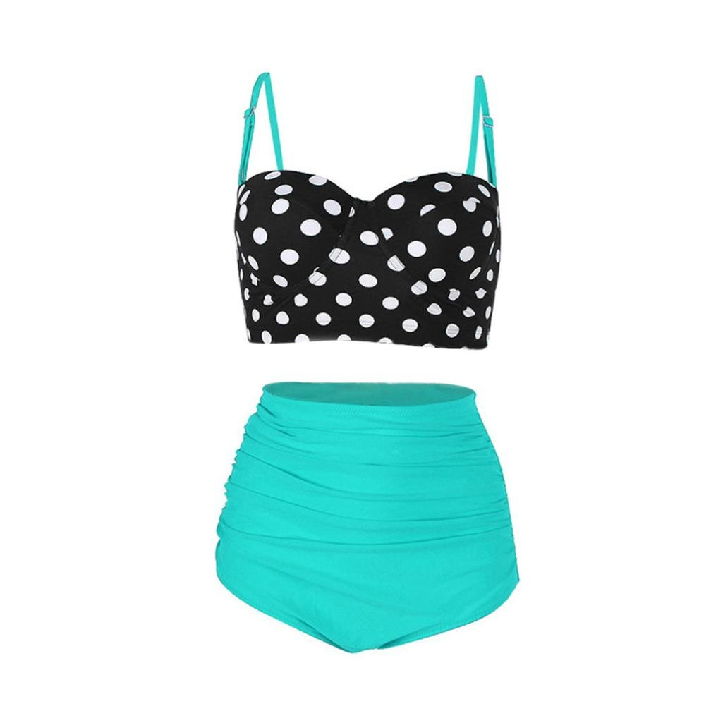 Mounter Retro Two Piece Swimwear | Women's Vintage Polka Dot High Waisted Push Up Bathing Suits Bikini Set Summer Swimming Costume (Green, M)