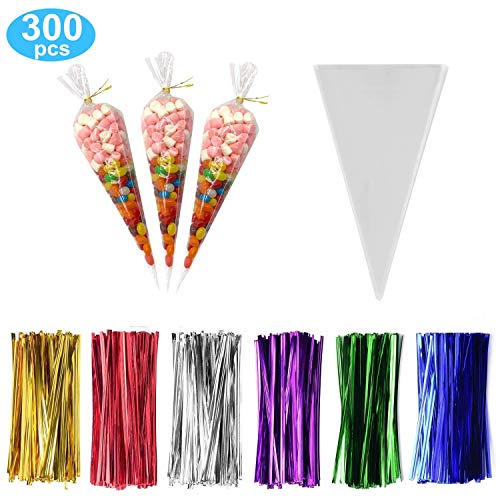 Cone Shaped Bags (300 Pack Clear Cone Treat Bags Cone Cellophane Treat Bags Triangle Bags with 3.1