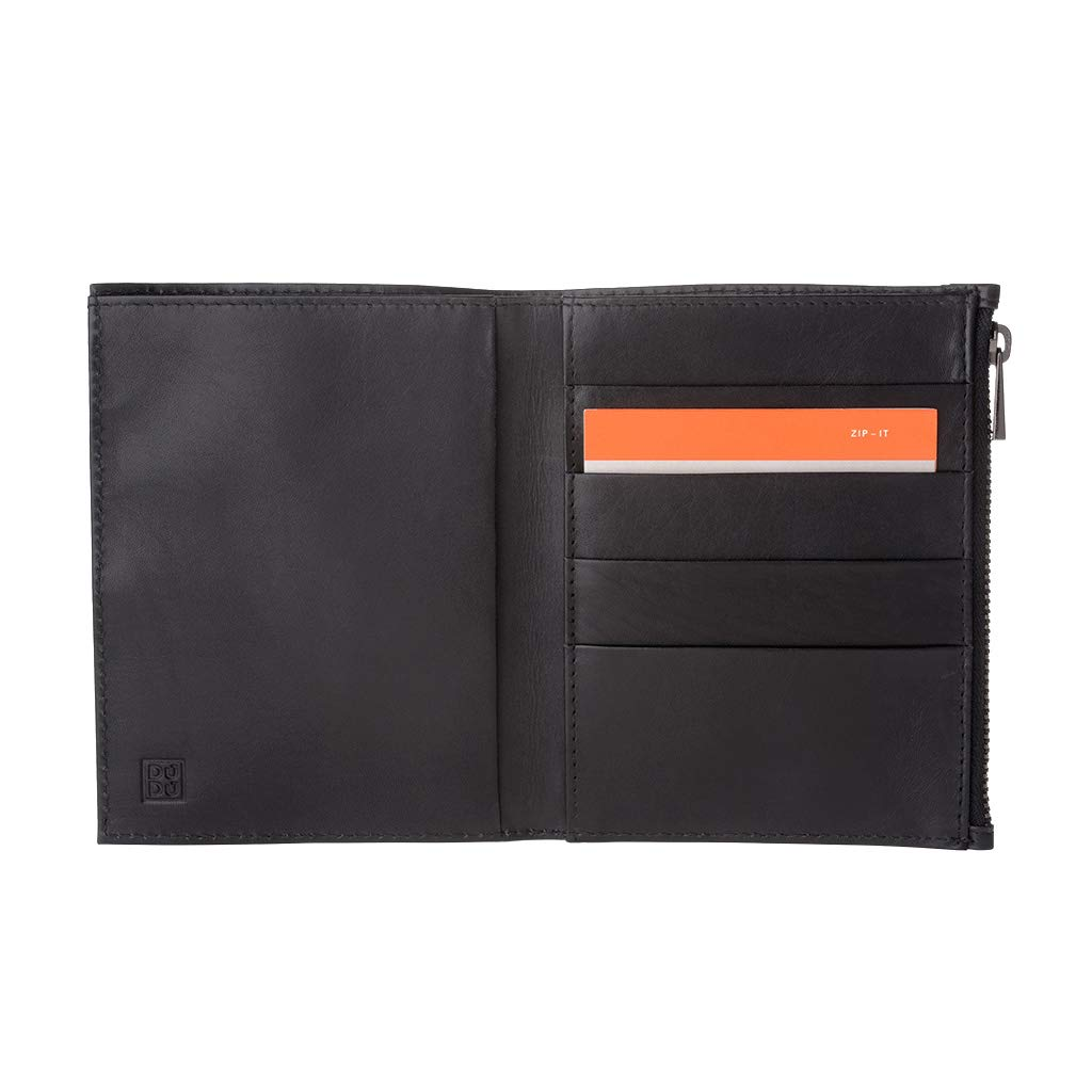 DUDU Large Wallet for Men in Genuine Leather Slim Vertical format Card /& Document Holders with Zip Leo Black