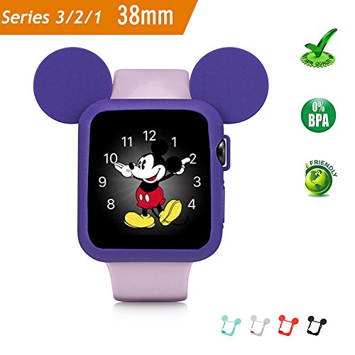 Pipigo iWatch Series 3/Series 2/Series 1 38MM Sport/Edition/Nike Soft Silicone Protective Cover for Apple Watch Case Cartoon Mouse Ears (Purple)