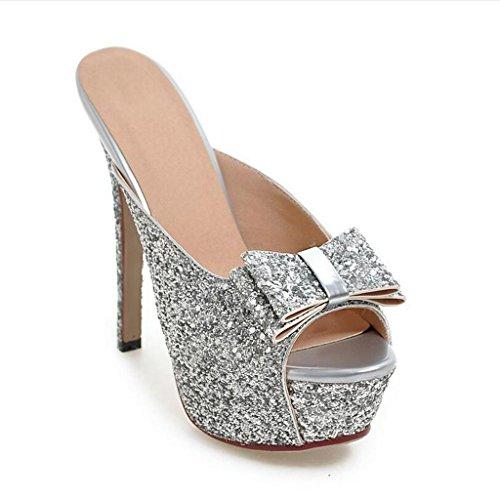 W&LM Sra Tacones altos Chanclas Boca de pescado Sandalias De acuerdo Parte inferior gruesa Sandalias Antideslizante Zapato Silver