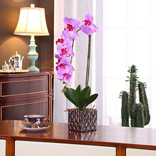 Artificial Phaleanopsis Arrangement with Vase Decorative Orchid Flower Bonsai (Light Purple)