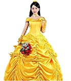 HalloweenCostumeParty Beauty and Beast Belle Costume Dress For Adults Woman (M)