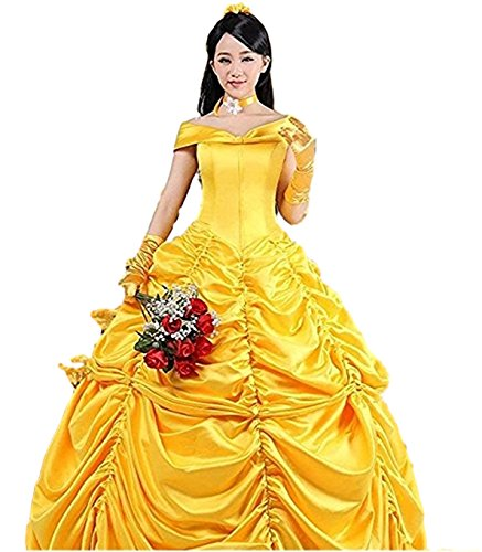 (HalloweenCostumeParty Beauty and Beast Belle Costume Dress For Adults Woman)