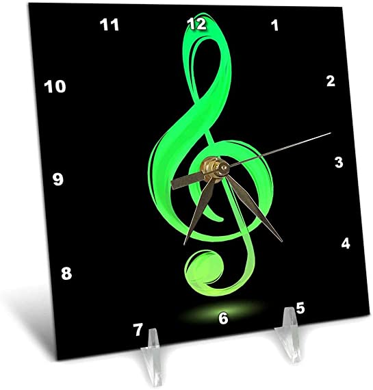 3dRose dc_111573_1 Lime Green Treble Clef Desk Clock, 6 by 6