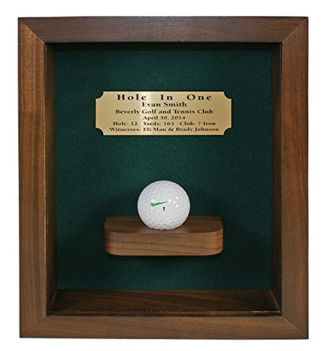 Eureka Golf Products Hole-In-One Shadow Box with Ball Shelf-Free Engraved Plate (Walnut)