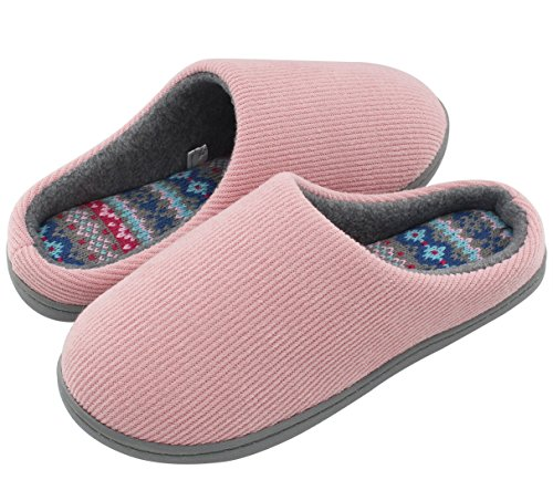 HomeIdeas Women's Comfort Memory Foam Distinctive House Slippers, Autumn Winter Indoor / Outdoor Shoes with Colour Stripe