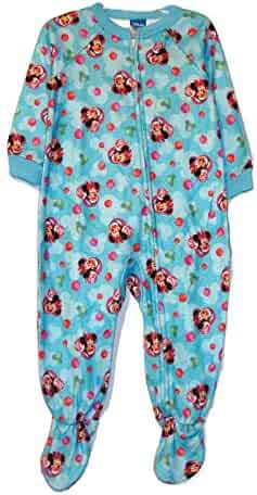 Toddler Girl s Minnie Mouse Blue Christmas Print Footed Pajama Sleeper 75504188a