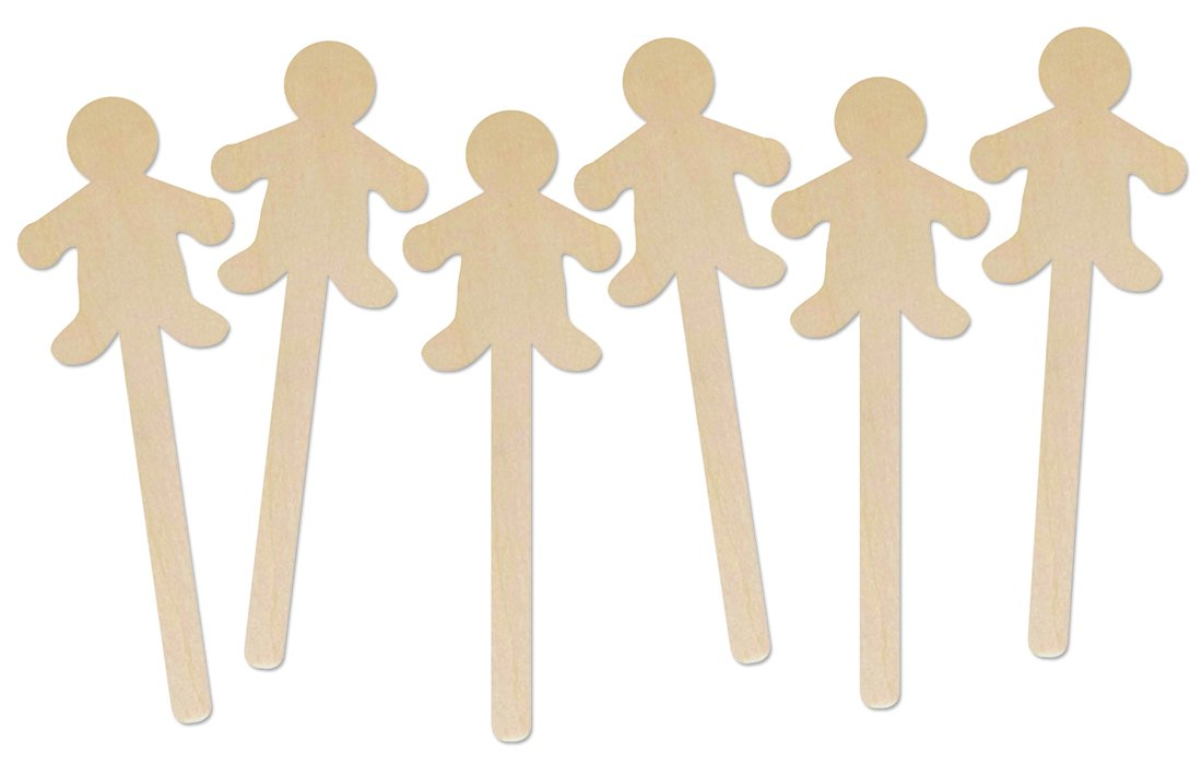 Hygloss Natural Wood Popsicle Sticks - 6.25 Inches Art & Craft Sticks - People Shape, 25 Pcs by Hygloss
