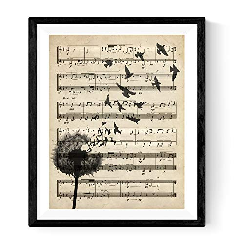 Nacnic Dandelion with Music Sheets Print. Poster in Size 11