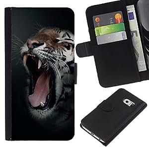 KLONGSHOP // Tirón de la caja Cartera de cuero con ranuras para tarjetas - Animal Rugido del tigre Bostezo Colmillos Noche Negro - Samsung Galaxy S6 EDGE //