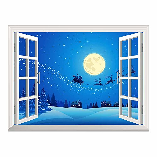 Cartoon Santa Claus and Reindeer Flying over the Town with the Full Moon on a Quiet Christmas Eve Night Peel and Stick Wall Mural