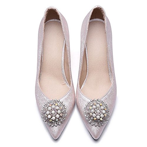 TAOFFEN Women's Pointed Toe Pumps Shoes Slip On Pink wgaLX