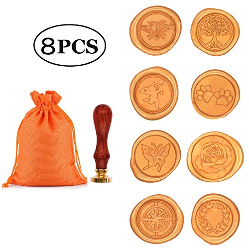 - Wax Stamp Set, Aymayo 8 PCS Wax Seal Stamp Brass Heads and 1 PCS Wooden Handle, Arts & Crafts Vintage Adhesive Sealing Wax Stamp Kit with Gift Bag- Great Gift for a Friend or Yourself