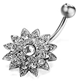 Silver Color Stainless Steel Crystal Flower Belly Ring Body Piercing for Women