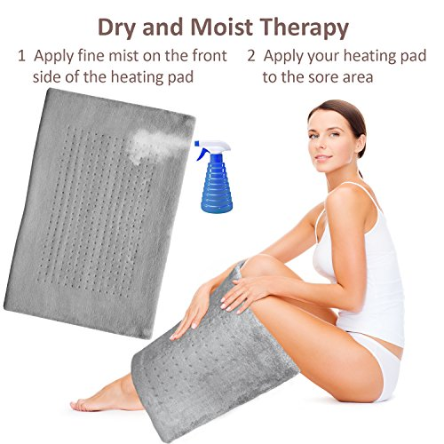 XXL Heating Pad - Electric Heating Pad for Moist and Dry Heat Therapy - Fast Neck/Shoulder/Back Pain Relief at Home (18 x 26), GENIANI (Soft Gray)