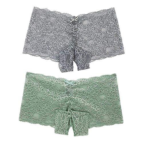 Yetou Prime Amazon Day,Save 15% Women Panty Sexy Lace Lingerie Plus Size Underwear Open Crotch Bowknot Underwear 2PC Gray -