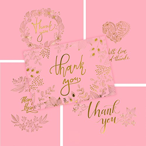 (50 Thank You Cards - Pink and Gold Bulk Note Cards - Perfect for Your Rustic Wedding, Baby Shower, Business, Graduation, Bridal Shower, Birthday, Engagement)
