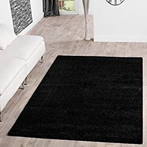 Alfombra Moderna Pelo Largo Shaggy Hochflor Alfombras suave Calidad en Negro, negro, 10 x 10 cm