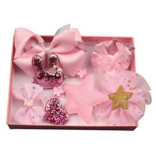 Afco - 10 pinzas de pelo para niña con lazo, diseño de flores, multicolor, para regalo de cumpleaños, Rosa, 1.5cm - 11cm