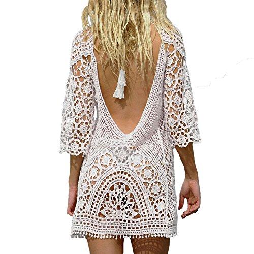 Bluetime Womens Beach Wear Cover Up Crochet Bathing Suit Swimsuit Bikini Dress (one size, White)
