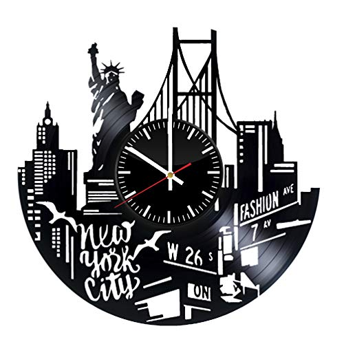 New York City Vinyl Record Wall Clock - Original HANDMADE New York Skyline Wall Art -