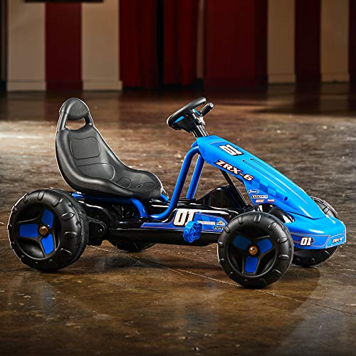 51sZfuW1KzL - Huffy 17197P 6V 2 in 1 Ride On Car for Kids, Flat Kart Toy, Blue